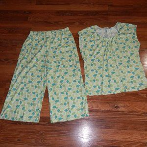 Garnet Hill Green Cotton Asian Wrap Pajama Set S